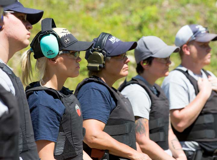 Public safety students at target practice