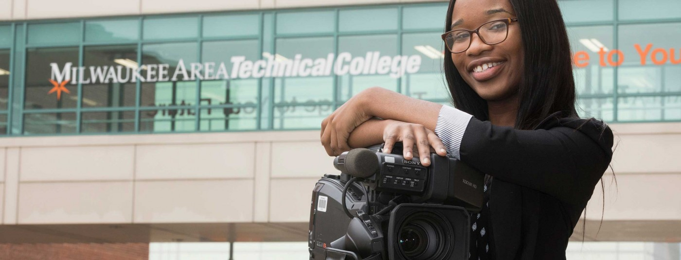 MATC Visual Communications student with professional camera